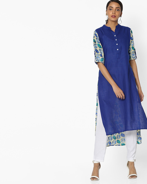 Printed High-Low Hem Kurta By JASHN ( Blue )