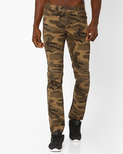 Tapered Fit Camouflage Trousers By DNM X ( Olive )