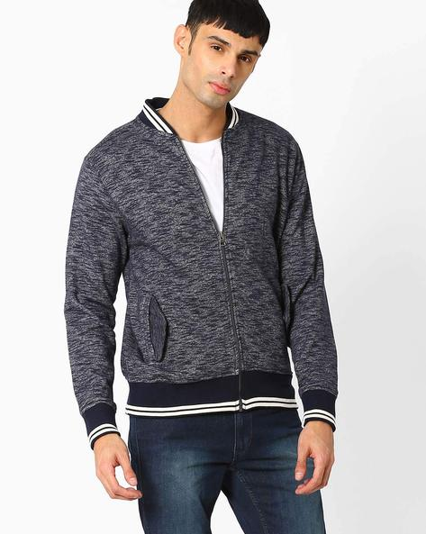 Zip-Front Sweatshirt With Stand-Collar By Teamspirit ( Blue )