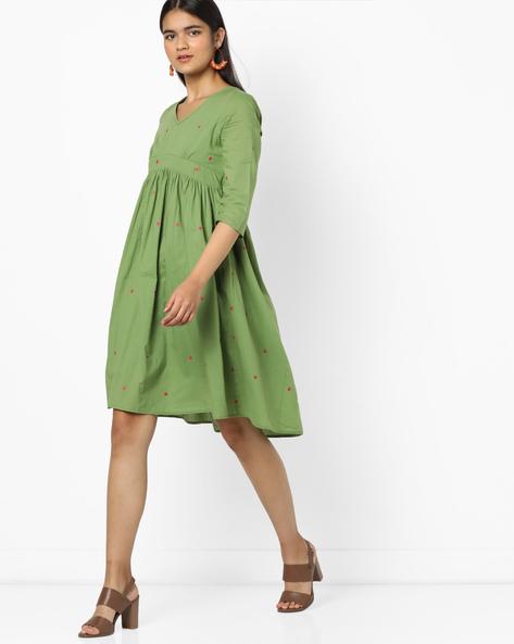 Geometric Print Fit & Flare Dress By AJIO ( Olive ) - 460127083007