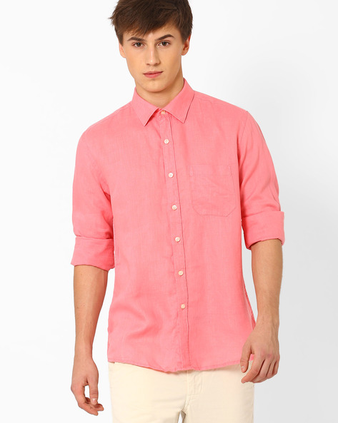 Linen Shirt With Patch Pocket By NETWORK ( Pink )