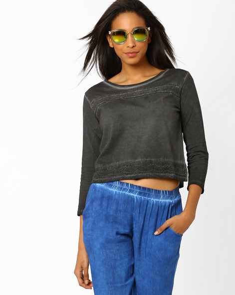 Crop Top With Crochet Panels By AJIO ( Grey )