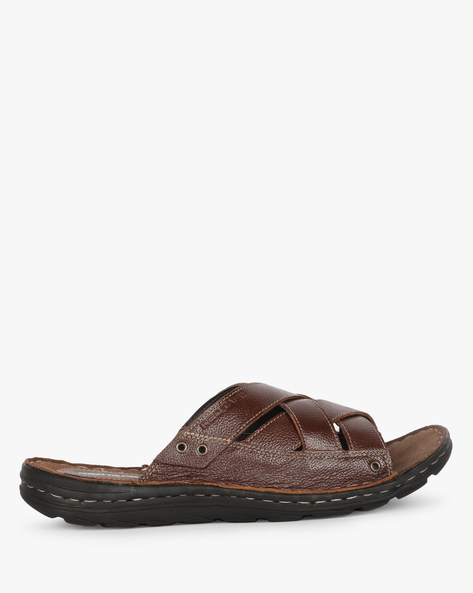Genuine Leather Slip-On Sandals By RED TAPE ( Brown )