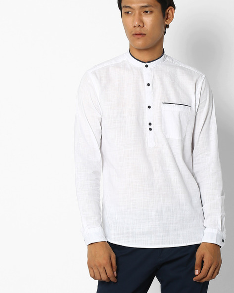Regular Fit Popover Shirt With Patch Pocket By NETPLAY ( White )