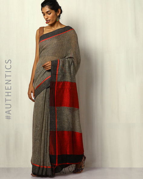 Handloom Pure Linen Saree With Fringes By Indie Picks ( Black )