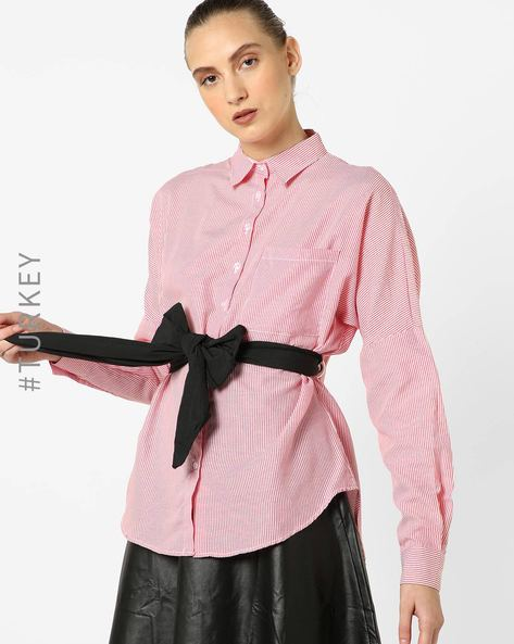 Striped Shirt With Fabric Belt By TRENDYOL ( Red )