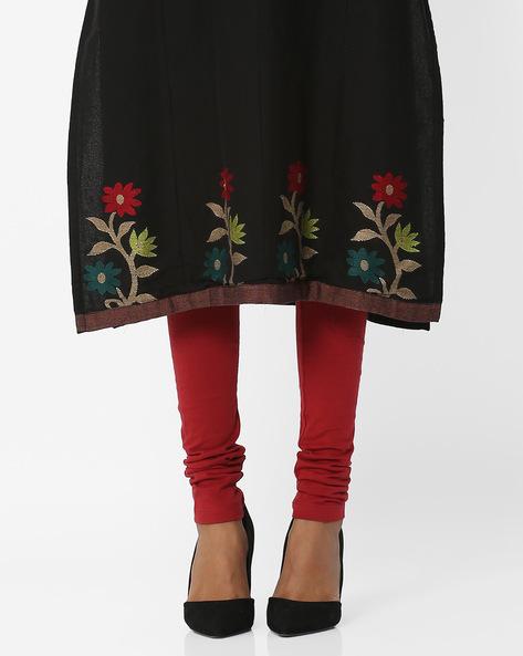 Mid-Rise Churidar Leggings By W ( Red )