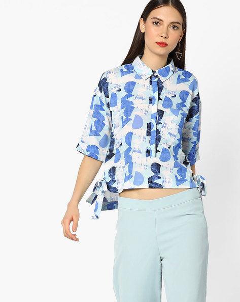Printed High-Low Top By AJIO ( Navyblue )