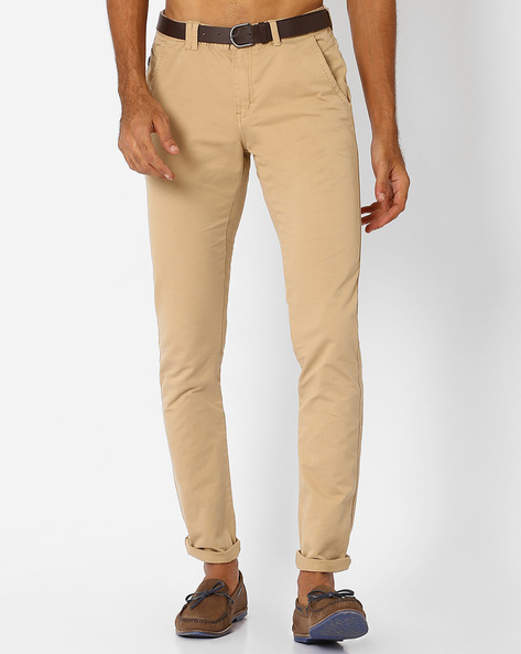 Belted Chino Slim Trousers By NETPLAY ( Beige )