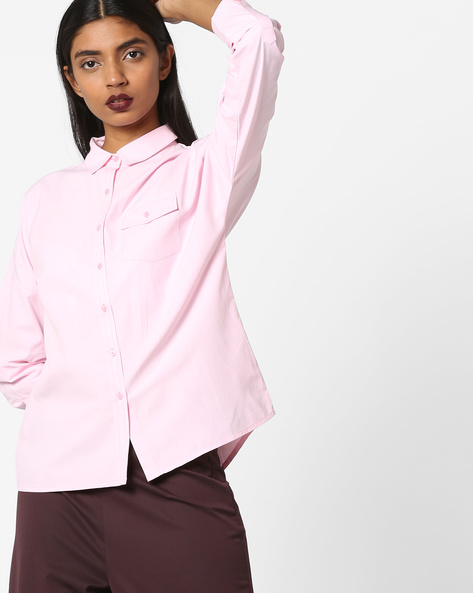 High-Low Shirt With Printed Back By AJIO ( Pink )