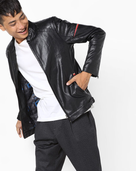 Front-Zip Panelled Jacket By Fort Collins ( Black )