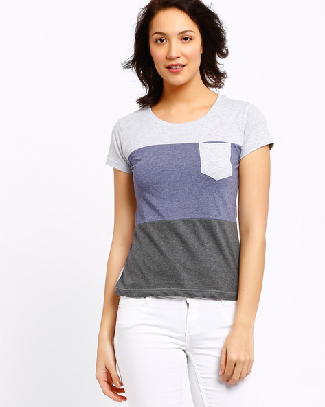 Colour-Block T-shirt By AJIO ( Grey )