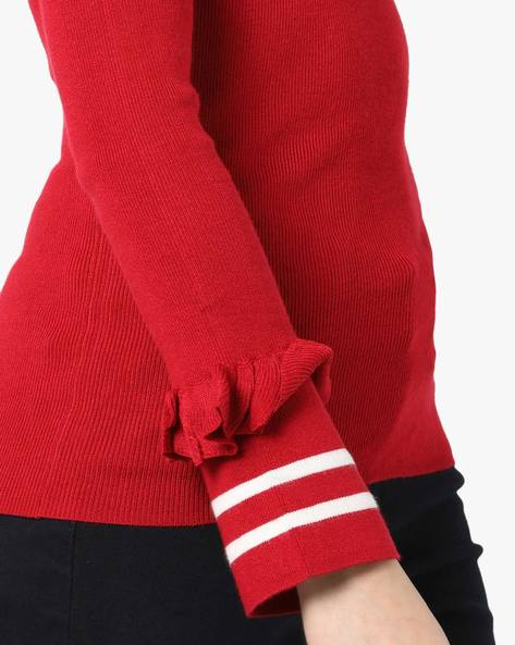 Crew-Neck Pullover With Ruffled Panel By TALLY WEiJL ( Red )