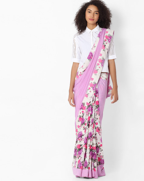 Half & Half Floral Print Saree By VIPUL ( Purple )