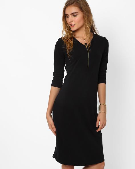Jersey Dress With Zip By AJIO ( Black )