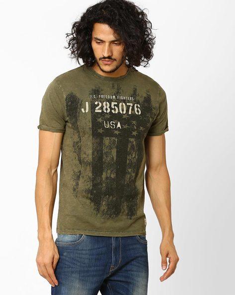 Printed Cotton Slim Fit T-shirt By Jack & Jones ( Black )