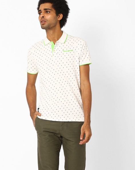 Printed Slim Polo T-shirt By Teamspirit ( White )