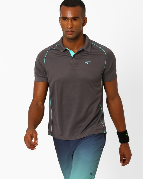 Polo T-shirt With Contrast Detail By PERFORMAX ( Charcoal )