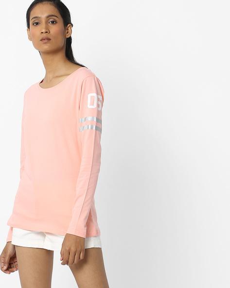 Crew-Neck Top With Printed Sleeves By Teamspirit ( Orange )