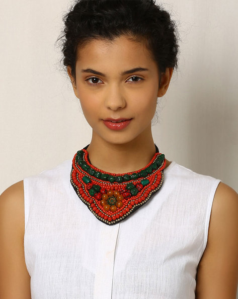 Glass Beaded Collar Necklace By Indie Picks ( Peach )