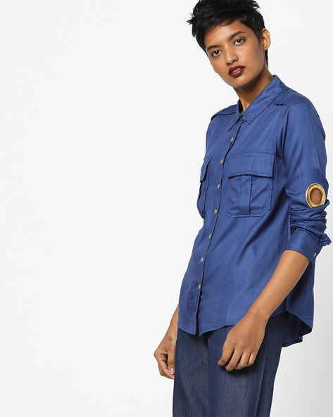 High-Low Shirt With Flap Pockets By AJIO ( Blue )