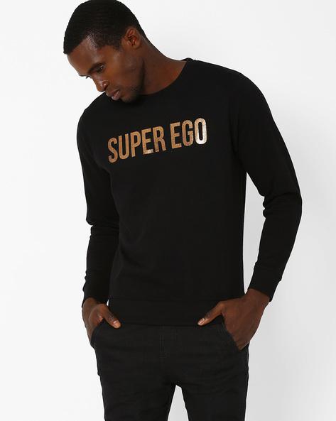 Printed Regular Fit Sweatshirt By Pepe Jeans ( Black )
