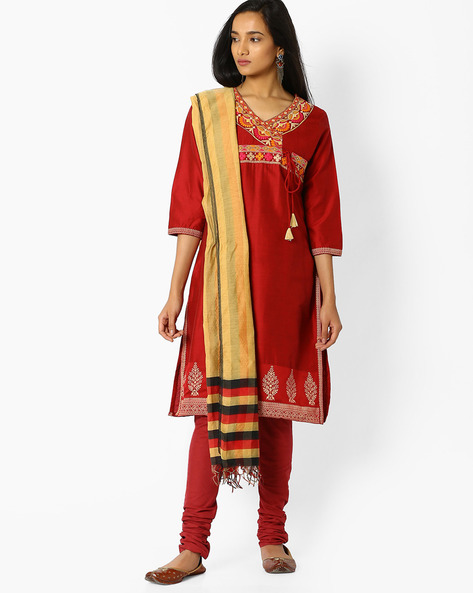 Embroidered Kurta With Churidar And Dupatta By AVAASA SET ( Maroonburg )