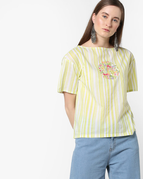 Striped Boat-Neck Top With Floral Embroidery By AJIO ( Green )
