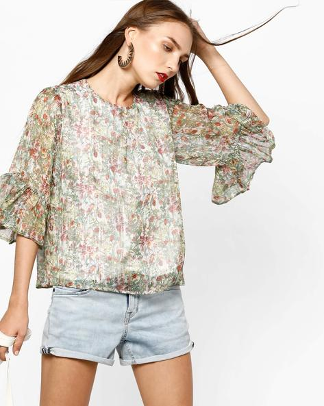 Floral Print Top With Bell Sleeves By AJIO ( Offwhite )