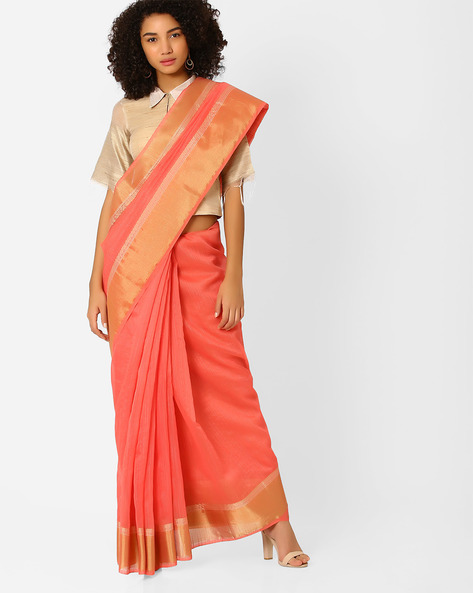 Saree With Contrast Zari Border By Amori ( Lightpink )