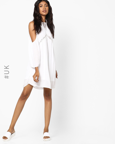 Shift Dress With Cold-Shoulder Sleeves By INFLUENCE ( White )