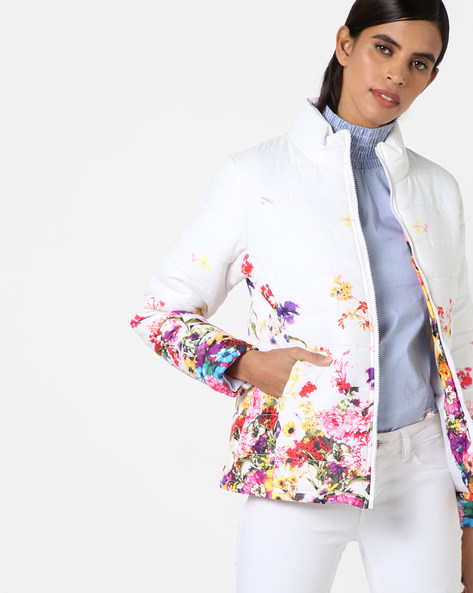 Floral Print Quilted Jacket By Fort Collins ( Offwhite )