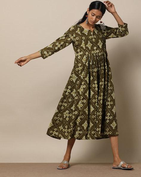 Printed Cotton Gathered Midi Dress By Seasons ( Green )