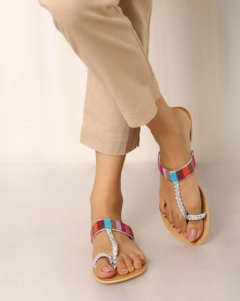 Beaded Chappals By Indie Picks ( Tan )