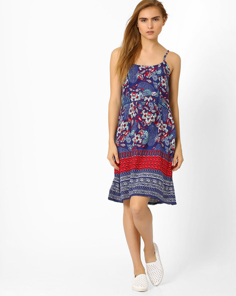 Strappy Printed Midi Dress By AJIO ( Navyblue )