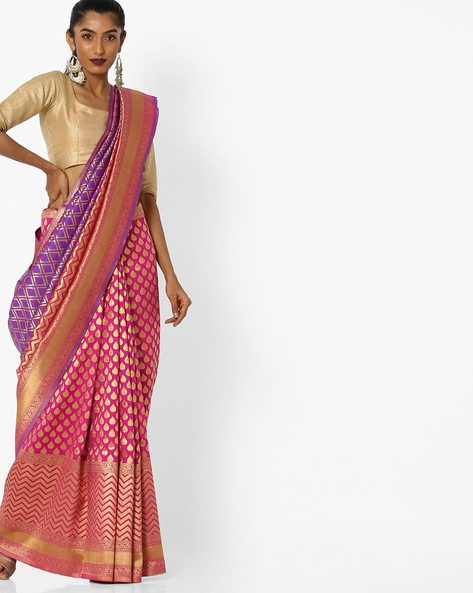 Printed Saree With Contrast Border By CHHABRA 555 ( Pink )