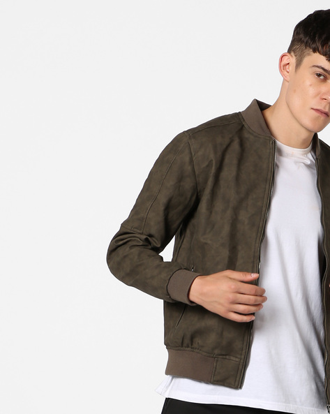 Bomber Jacket With Front Zipper By AJIO ( Beige )