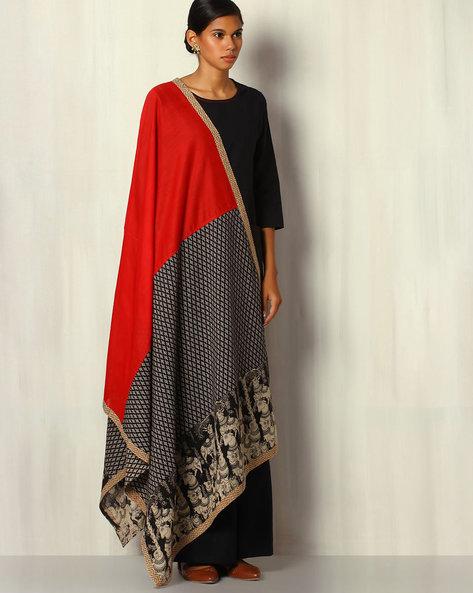 Kalamkari Handblock Print Cotton Silk Dupatta By Addoz ( Multi )
