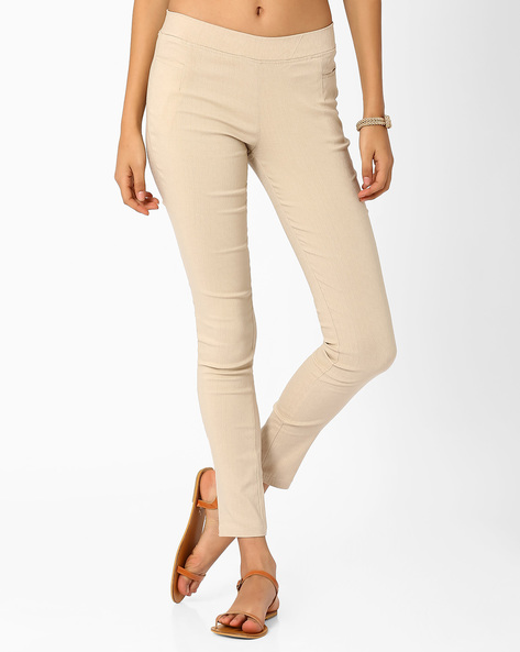 Slim Fit Trousers With Elasticated Waistband By Izabel London By Pantaloons ( Khaki )