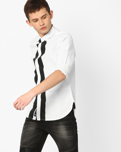 Cotton Shirt With Plastisol Print By Blue Saint ( White )