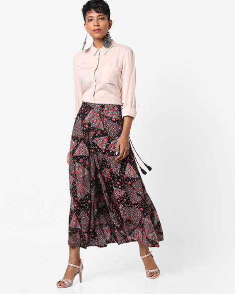 Printed Ankle-Length Palazzo Pants By COLOUR ME ( Black )