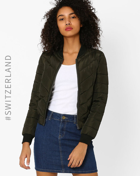 Quilted Bomber Jacket By TALLY WEiJL ( Olive )