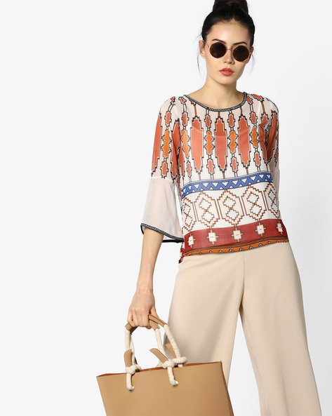 Printed Top With Flared Sleeves By CODE By Lifestyle ( Offwhite )