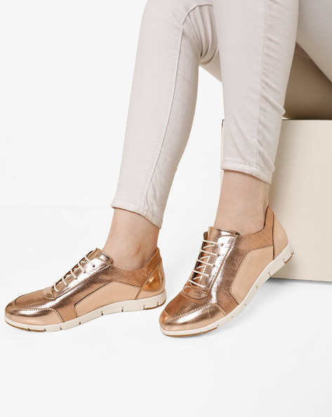 Panelled Low-Top Lace-Up Shoes By AJIO ( Rosegold )