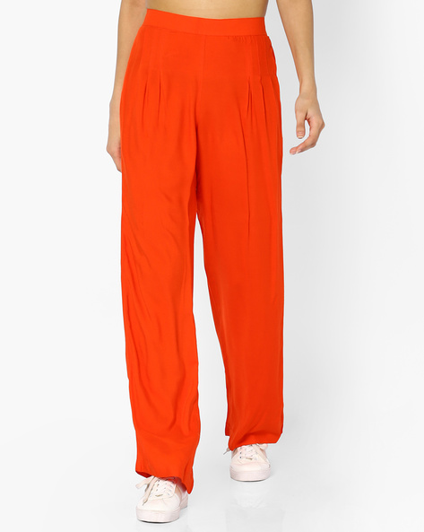 High-Rise Palazzo Pants By PASLEI ( Orange )