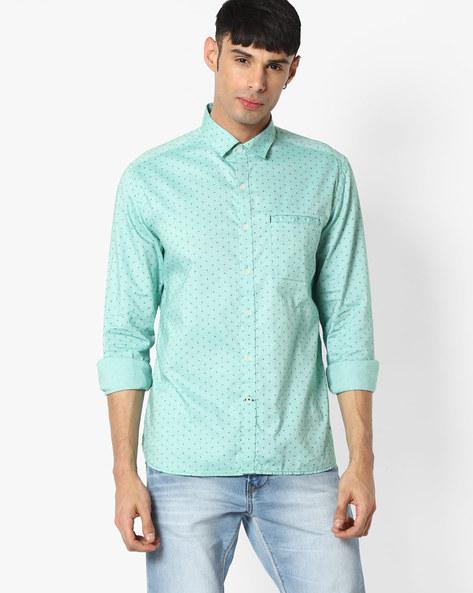 Slim Fit Cotton Shirt By NETPLAY ( Green )