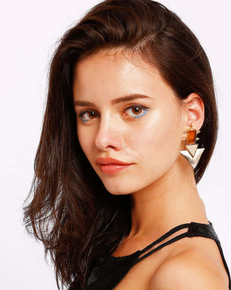 Triangular Drop Earrings With Stones By Ssoul ( Yellow )
