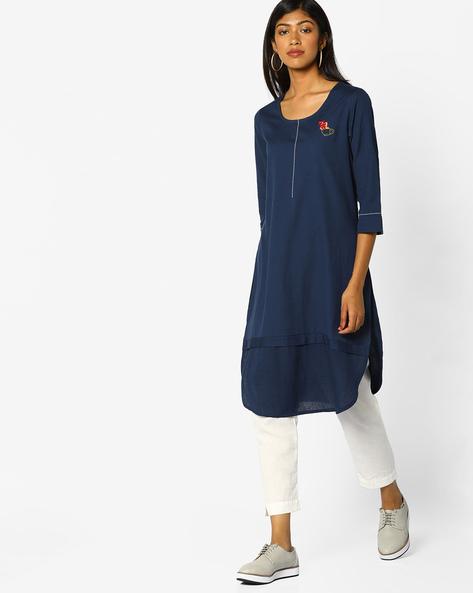 Straight Kurta With Curved Hemline By Arah ( Blue )