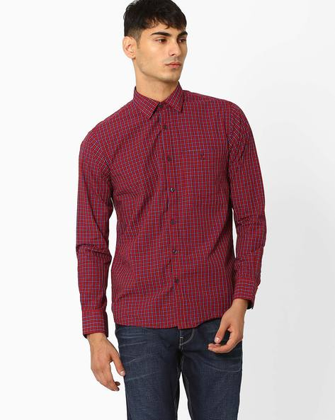 Checked Shirt With Patch Pocket By CRIMSOUNE CLUB ( Red )