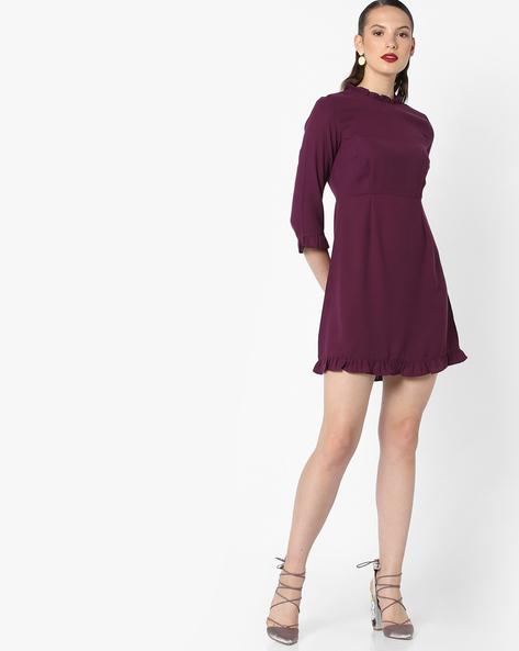 Skater Dress With Ruffled Hems By AJIO ( Purple )